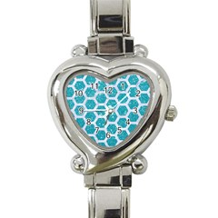 Hexagon2 White Marble & Turquoise Glitter Heart Italian Charm Watch by trendistuff