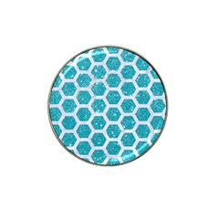 Hexagon2 White Marble & Turquoise Glitter Hat Clip Ball Marker (4 Pack) by trendistuff