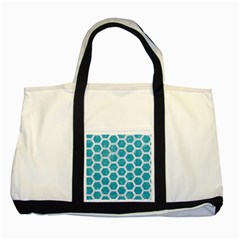 Hexagon2 White Marble & Turquoise Glitter Two Tone Tote Bag by trendistuff