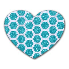 Hexagon2 White Marble & Turquoise Glitter Heart Mousepads by trendistuff