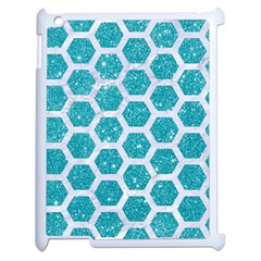 Hexagon2 White Marble & Turquoise Glitter Apple Ipad 2 Case (white) by trendistuff