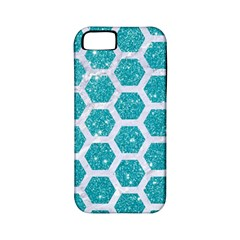 Hexagon2 White Marble & Turquoise Glitter Apple Iphone 5 Classic Hardshell Case (pc+silicone) by trendistuff