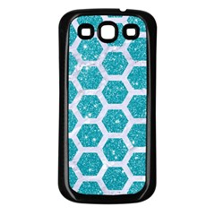 Hexagon2 White Marble & Turquoise Glitter Samsung Galaxy S3 Back Case (black) by trendistuff