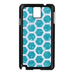 Hexagon2 White Marble & Turquoise Glitter Samsung Galaxy Note 3 N9005 Case (black) by trendistuff