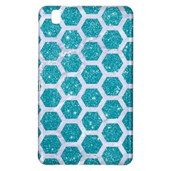 Hexagon2 White Marble & Turquoise Glitter Samsung Galaxy Tab Pro 8 4 Hardshell Case by trendistuff