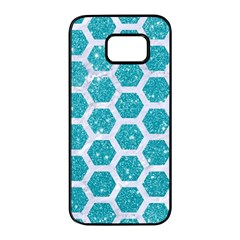 Hexagon2 White Marble & Turquoise Glitter Samsung Galaxy S7 Edge Black Seamless Case by trendistuff