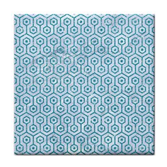 Hexagon1 White Marble & Turquoise Glitter (r) Tile Coasters by trendistuff