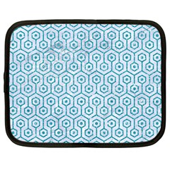 Hexagon1 White Marble & Turquoise Glitter (r) Netbook Case (large) by trendistuff