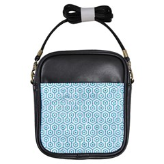 Hexagon1 White Marble & Turquoise Glitter (r) Girls Sling Bags by trendistuff