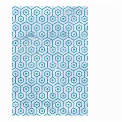Hexagon1 White Marble & Turquoise Glitter (r) Small Garden Flag (two Sides) by trendistuff