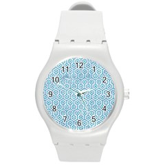 Hexagon1 White Marble & Turquoise Glitter (r) Round Plastic Sport Watch (m)