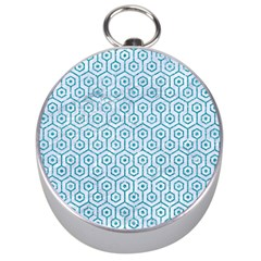 Hexagon1 White Marble & Turquoise Glitter (r) Silver Compasses by trendistuff