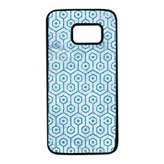 Hexagon1 White Marble & Turquoise Glitter (r) Samsung Galaxy S7 Black Seamless Case by trendistuff