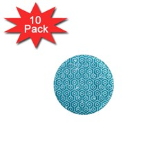 Hexagon1 White Marble & Turquoise Glitter 1  Mini Magnet (10 Pack)  by trendistuff