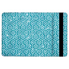 Hexagon1 White Marble & Turquoise Glitter Ipad Air 2 Flip by trendistuff