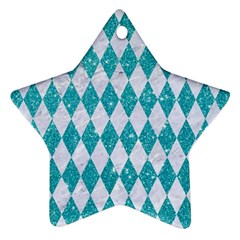 Diamond1 White Marble & Turquoise Glitter Star Ornament (two Sides) by trendistuff