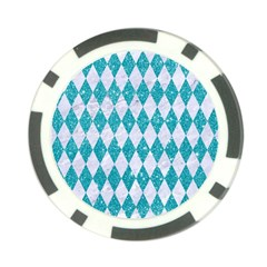 Diamond1 White Marble & Turquoise Glitter Poker Chip Card Guard (10 Pack) by trendistuff