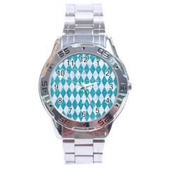 Diamond1 White Marble & Turquoise Glitter Stainless Steel Analogue Watch by trendistuff