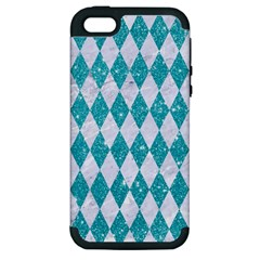 Diamond1 White Marble & Turquoise Glitter Apple Iphone 5 Hardshell Case (pc+silicone) by trendistuff