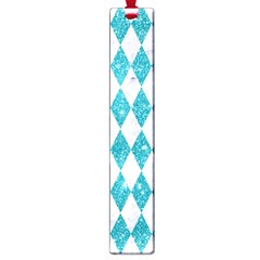 Diamond1 White Marble & Turquoise Glitter Large Book Marks by trendistuff