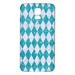 Diamond1 White Marble & Turquoise Glitter Samsung Galaxy S5 Back Case (white) by trendistuff