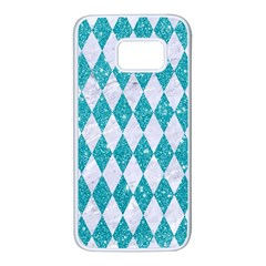 Diamond1 White Marble & Turquoise Glitter Samsung Galaxy S7 White Seamless Case by trendistuff