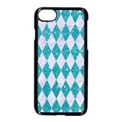 Diamond1 White Marble & Turquoise Glitter Apple Iphone 7 Seamless Case (black) by trendistuff