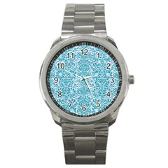 Damask2 White Marble & Turquoise Glitter (r) Sport Metal Watch by trendistuff