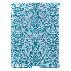 Damask2 White Marble & Turquoise Glitter (r) Apple Ipad 3/4 Hardshell Case (compatible With Smart Cover) by trendistuff