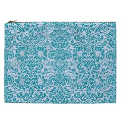 Damask2 White Marble & Turquoise Glitter (r) Cosmetic Bag (xxl)  by trendistuff