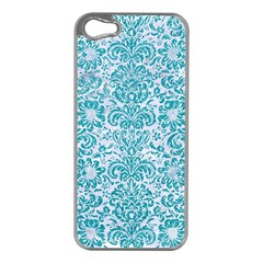Damask2 White Marble & Turquoise Glitter (r) Apple Iphone 5 Case (silver) by trendistuff