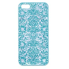Damask2 White Marble & Turquoise Glitter (r) Apple Seamless Iphone 5 Case (color) by trendistuff