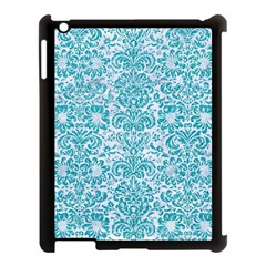 Damask2 White Marble & Turquoise Glitter (r) Apple Ipad 3/4 Case (black) by trendistuff