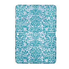 Damask2 White Marble & Turquoise Glitter (r) Samsung Galaxy Tab 2 (10 1 ) P5100 Hardshell Case  by trendistuff