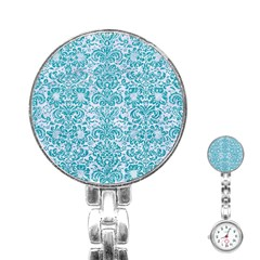 Damask2 White Marble & Turquoise Glitter (r) Stainless Steel Nurses Watch by trendistuff