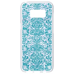 Damask2 White Marble & Turquoise Glitter (r) Samsung Galaxy S8 White Seamless Case by trendistuff