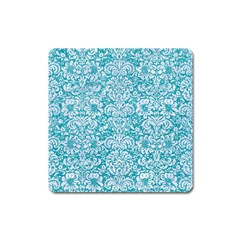 Damask2 White Marble & Turquoise Glitter Square Magnet by trendistuff