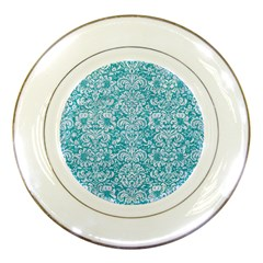 Damask2 White Marble & Turquoise Glitter Porcelain Plates by trendistuff