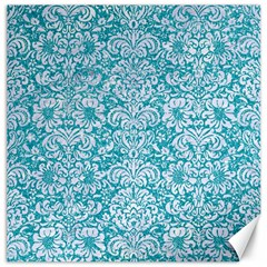 Damask2 White Marble & Turquoise Glitter Canvas 12  X 12   by trendistuff