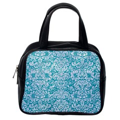 Damask2 White Marble & Turquoise Glitter Classic Handbags (one Side) by trendistuff