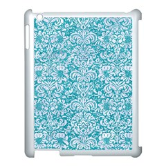 Damask2 White Marble & Turquoise Glitter Apple Ipad 3/4 Case (white) by trendistuff
