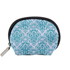 Damask1 White Marble & Turquoise Glitter (r) Accessory Pouches (small)  by trendistuff