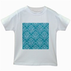 Damask1 White Marble & Turquoise Glitter Kids White T Shirts by trendistuff