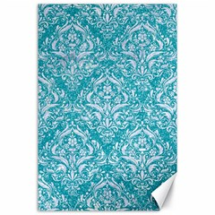 Damask1 White Marble & Turquoise Glitter Canvas 24  X 36  by trendistuff