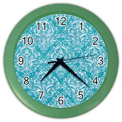 Damask1 White Marble & Turquoise Glitter Color Wall Clocks by trendistuff