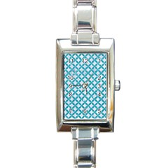 Circles3 White Marble & Turquoise Glitter (r) Rectangle Italian Charm Watch by trendistuff