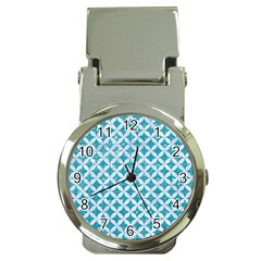 Circles3 White Marble & Turquoise Glitter Money Clip Watches by trendistuff