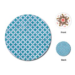 Circles3 White Marble & Turquoise Glitter Playing Cards (round)  by trendistuff