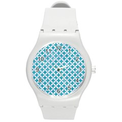 Circles3 White Marble & Turquoise Glitter Round Plastic Sport Watch (m)