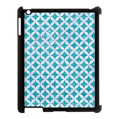 Circles3 White Marble & Turquoise Glitter Apple Ipad 3/4 Case (black)